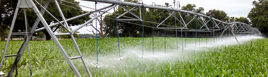 center pivot system with drops hanging